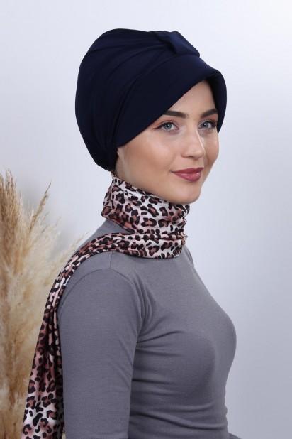 Fularlı Şapka Bone Lacivert