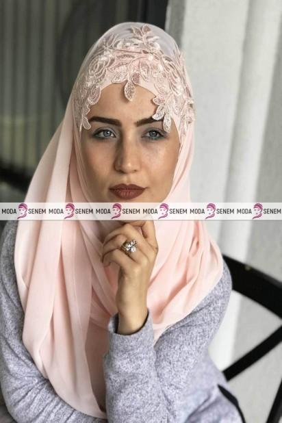 Güpürlü Bağlamalı Tesettür Şal Somon