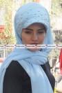 İNCİLİ ŞAPKA ŞAL - Bebe Mavisi