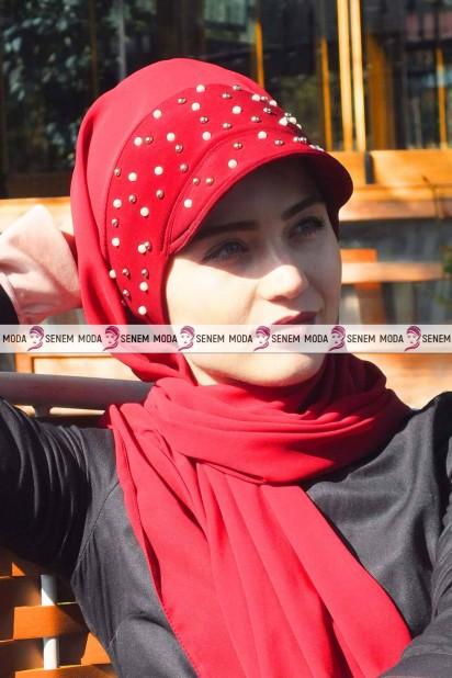 İNCİLİ ŞAPKA ŞAL - Kırmızı