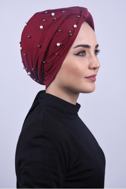 İncili Dolama Bone Bordo