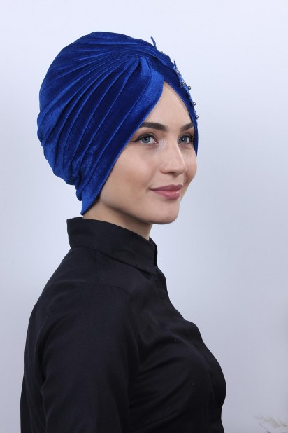 Kadife Güpürlü Vera Bone Saks Mavisi