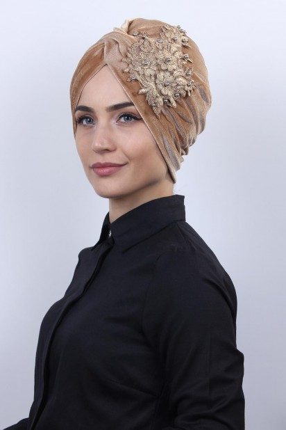 Kadife Güpürlü Vera Bone Karamel