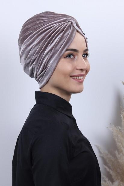 Kadife Güpürlü Vera Bone Vizon