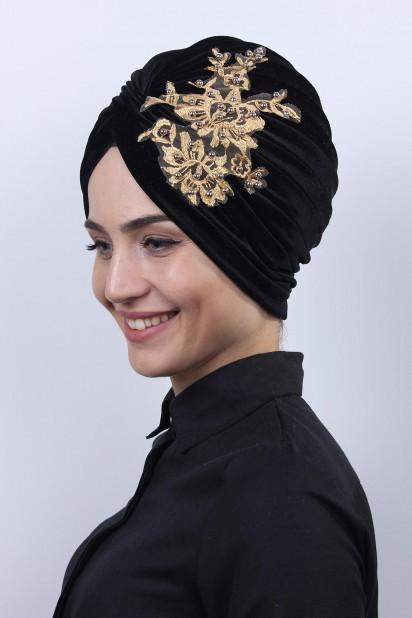 Kadife Güpürlü Vera Bone Siyah-Gold