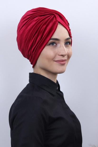 Kadife Güpürlü Vera Bone Kırmızı