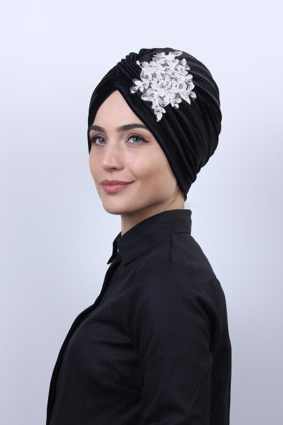 Kadife Güpürlü Vera Bone Siyah-Beyaz