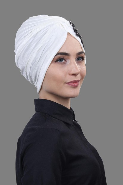 Kadife Güpürlü Vera Bone Beyaz-Siyah