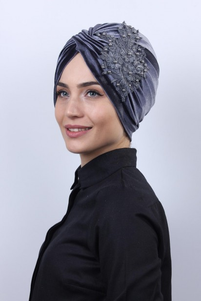 Kadife Güpürlü Vera Bone Antrasit