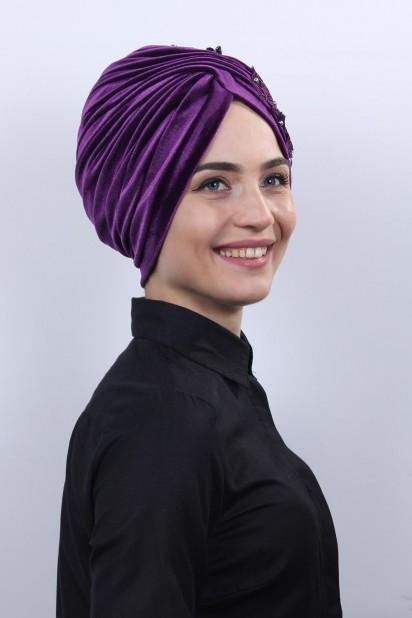 Kadife Güpürlü Vera Bone Mor