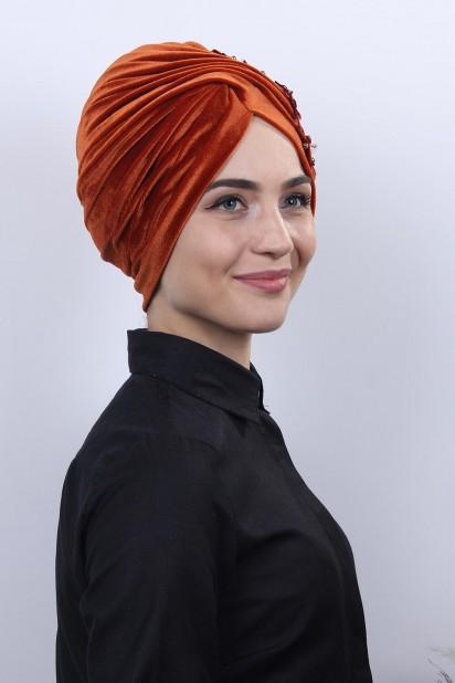 Kadife Güpürlü Vera Bone Kiremit