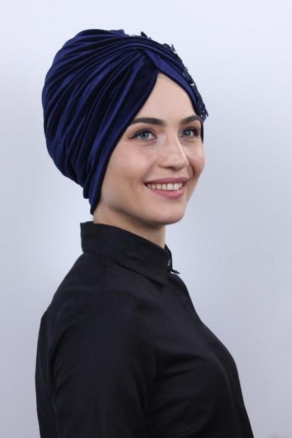 Kadife Güpürlü Vera Bone Lacivert