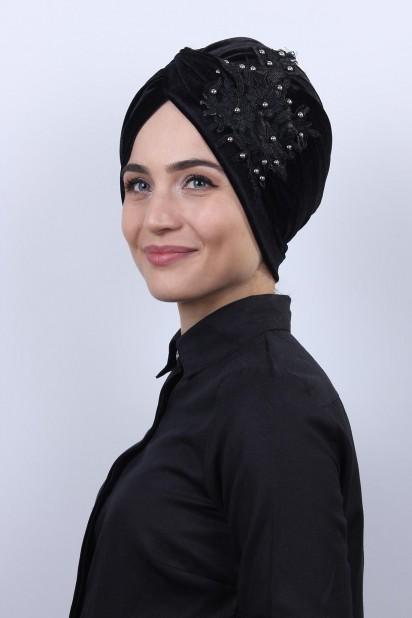 Kadife Güpürlü Vera Bone Siyah