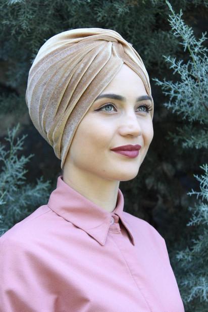 Kadife Payetli Vera Bone Karamel