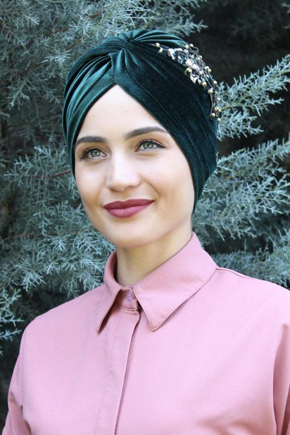Kadife Payetli Vera Bone Zümrüt Yeşili