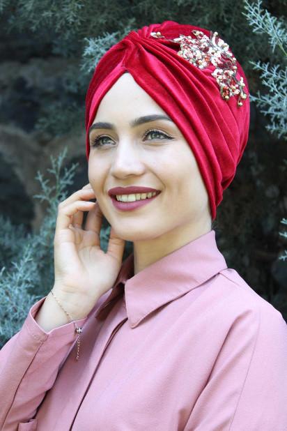 Kadife Payetli Vera Bone Kırmızı