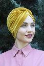Kadife Payetli Vera Bone Hardal Sarısı