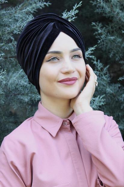 Kadife Payetli Vera Bone Siyah