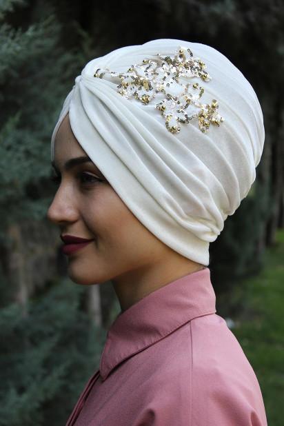 Kadife Payetli Vera Bone Beyaz