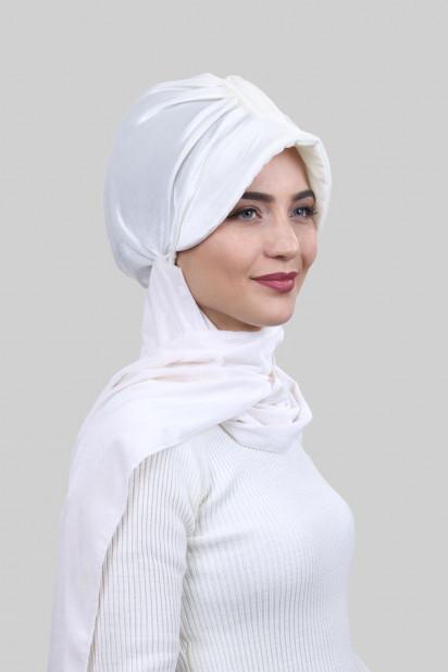 Kadife Şallı Şapka Bone Beyaz
