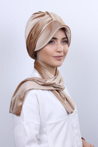 Kadife Şallı Şapka Bone Karamel