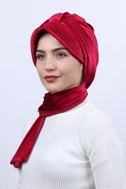 Kadife Şallı Şapka Bone Kırmızı