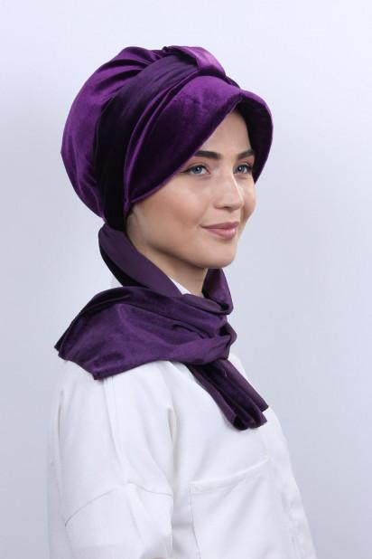 Kadife Şallı Şapka Bone Mor