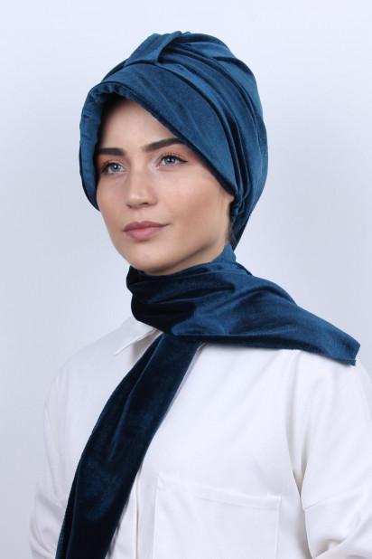 Kadife Şallı Şapka Bone Petrol Mavisi