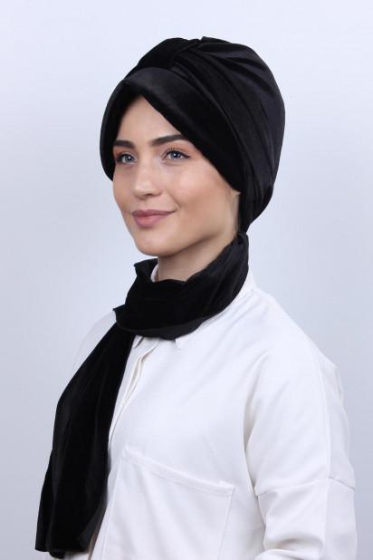 Kadife Şallı Şapka Bone Siyah