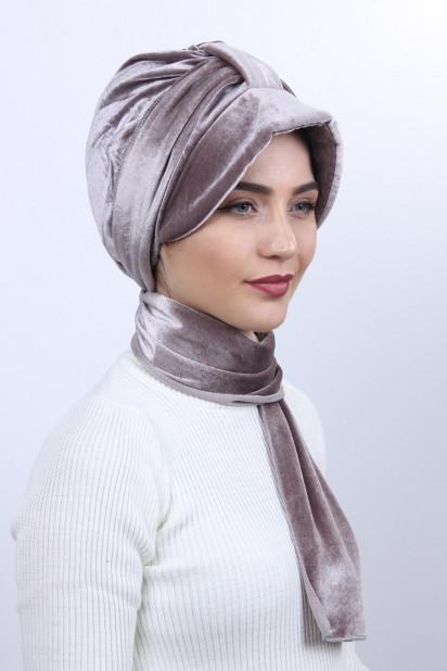 Kadife Şallı Şapka Bone Vizon