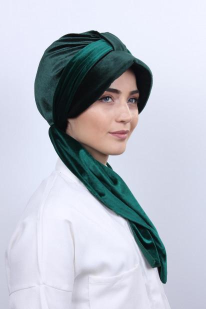 Kadife Şallı Şapka Bone Zümrüt Yeşili