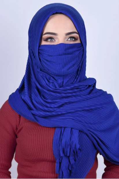 Maskeli Şal Saks Mavisi