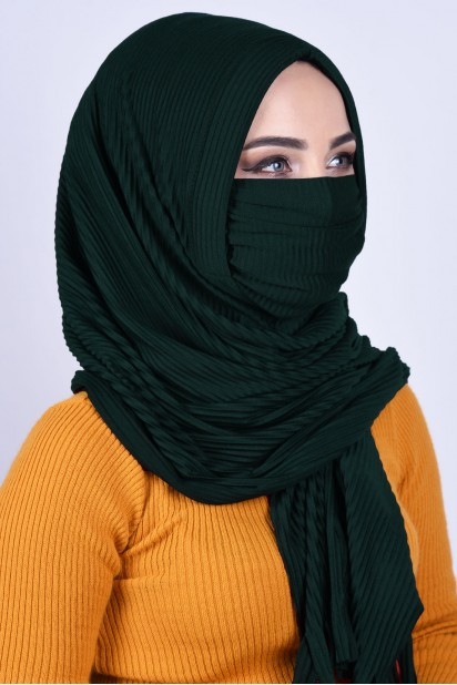 Maskeli Şal Zümrüt Yeşili