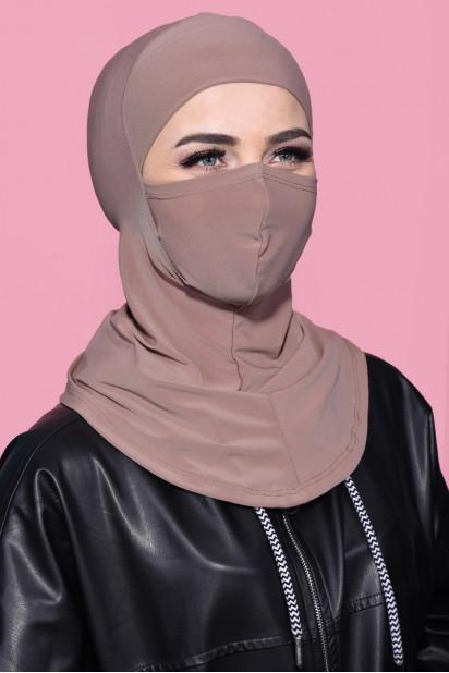 Maskeli Spor Hijab Açık Vizon
