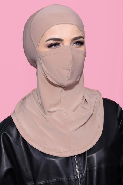 Maskeli Spor Hijab Bej