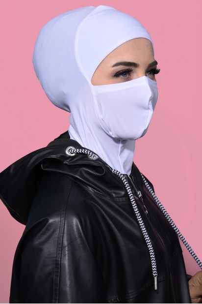 Maskeli Spor Hijab Beyaz