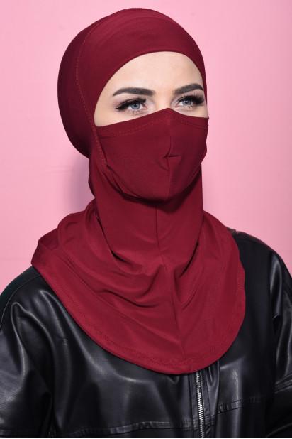 Maskeli Spor Hijab Bordo