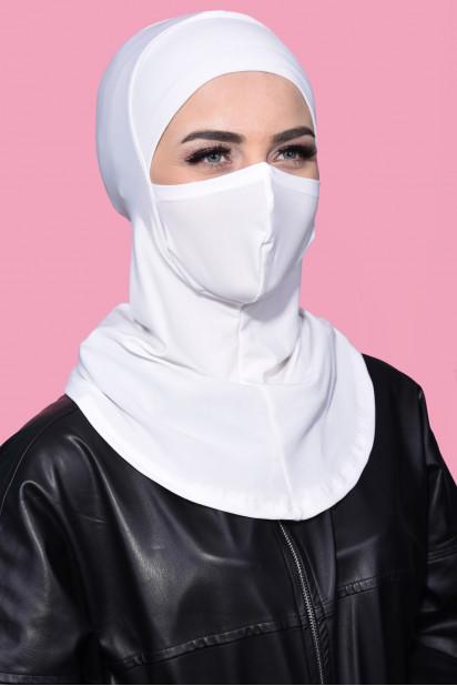 Maskeli Spor Hijab Ekru