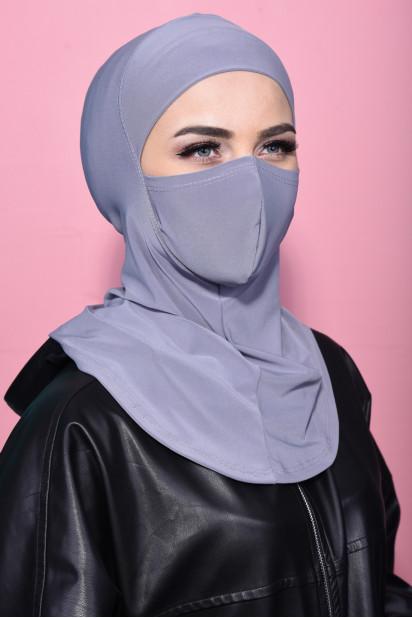 Maskeli Spor Hijab Gri