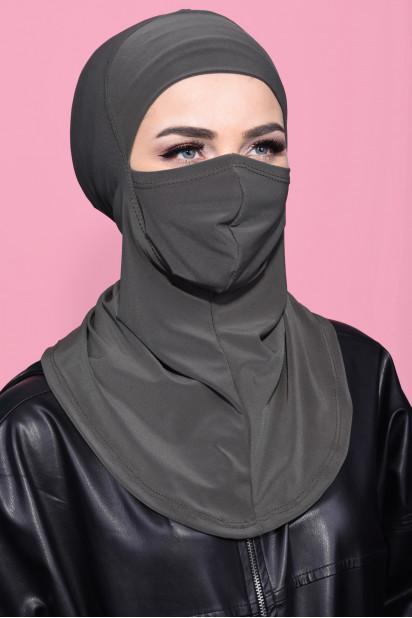 Maskeli Spor Hijab Haki Yeşili
