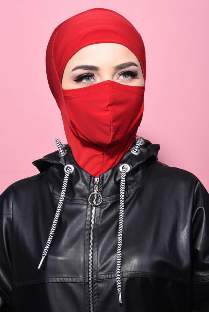 Maskeli Spor Hijab Kırmızı