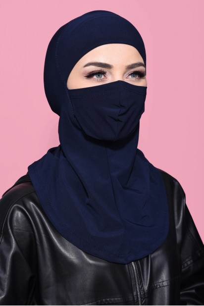 Maskeli Spor Hijab Lacivert