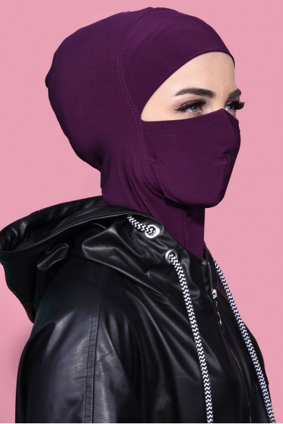 Maskeli Spor Hijab Mürdüm