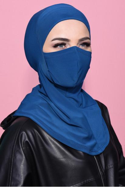 Maskeli Spor Hijab Petrol Mavisi