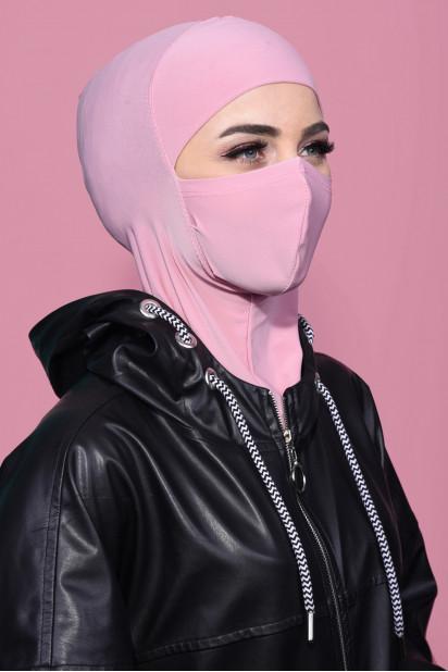 Maskeli Spor Hijab Pudra Pembesi