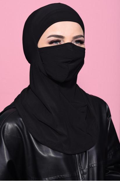 Maskeli Spor Hijab Siyah