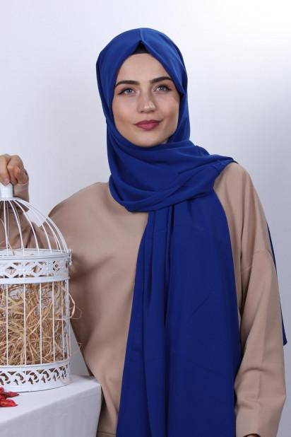 Medine İpeği Şal Saks Mavisi