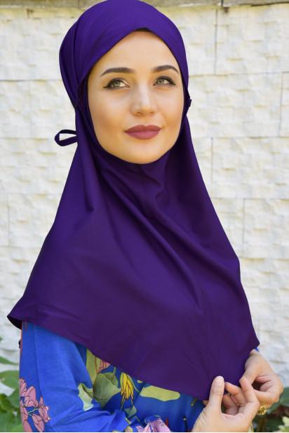 Nowa Bağlamalı Hijab Mor