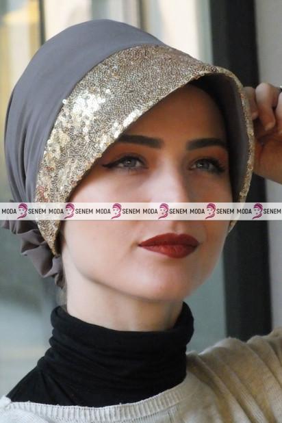 ŞAPKA BONE GOLD PAYETLİ Vizon