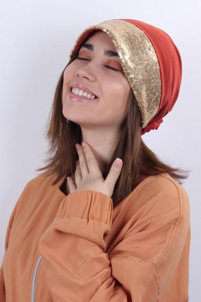 ŞAPKA BONE GOLD PAYETLİ Kiremit